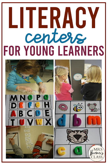 Kindergarten literacy center ideas for alphabet, sight words, and word work