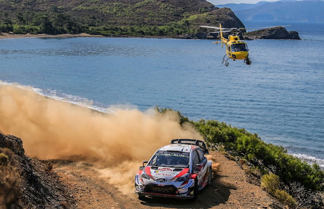 Rally Turkey Helicopter above Toyota Yaris World Rally Car