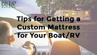 A split image of RVs and a couple in a boat with the words 'Tips for Getting a Custom Mattress for Your Boat or RV'