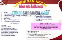 Loker Surabaya di Kebon Kota Hall dan Resto Desember 2019
