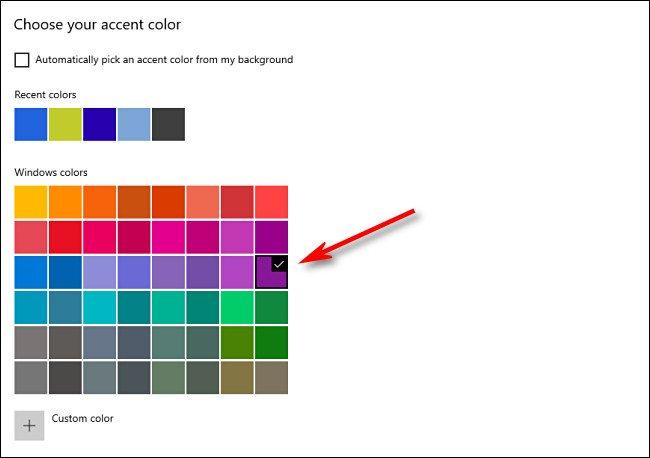 في إعدادات النافذة ، اختر لون التمييز الخاص بك من الشبكة.