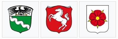 Los 3 escudos de la bandera de Renania del Norte-Westfalia