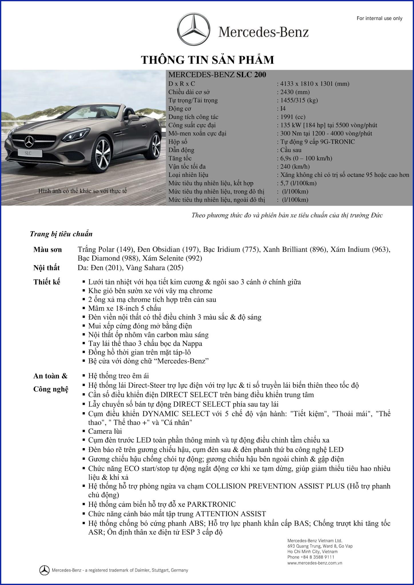 Bảng thông số kỹ thuật Mercedes SLC 200 2019 tại Mercedes Trường Chinh