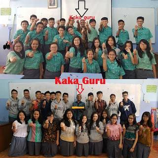 3 Trik + 5 Tips = 7 Cara Membuat Guru Bahagia dan Murid Senang Mengikuti Pelajaran Bahasa Indonesia di Sekolah, Martin Karakabu Guru Bahasa Indonesia SMTK Bethel Jakarta bersama Siswa-siswi SMA Kanaan Jakarta