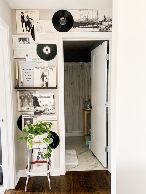 black and white records as decor