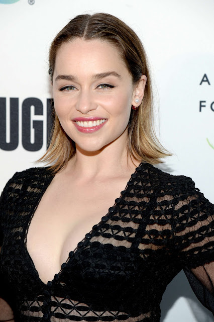 Emilia Clarke in Alexander McQueen at REFUGEE Exhibit in Century City, California