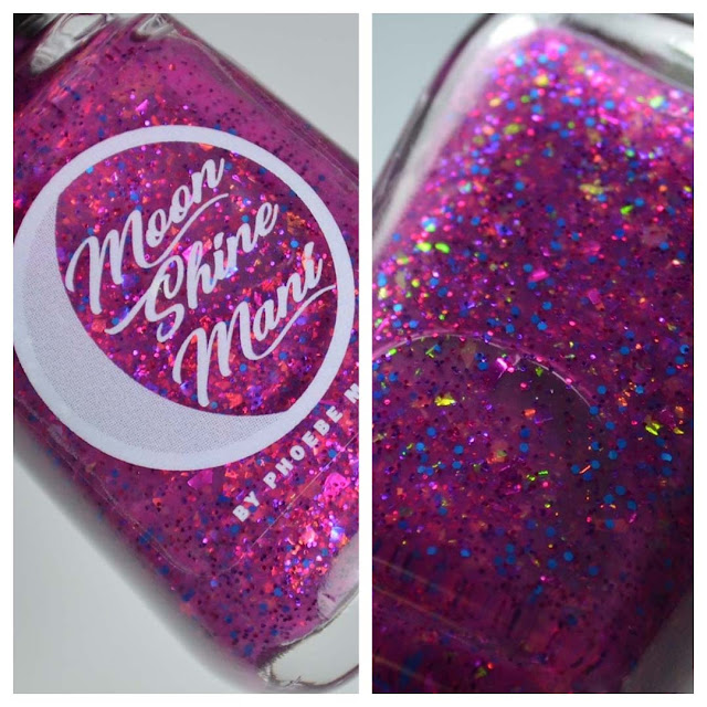 magenta glitter nail polish in a bottle