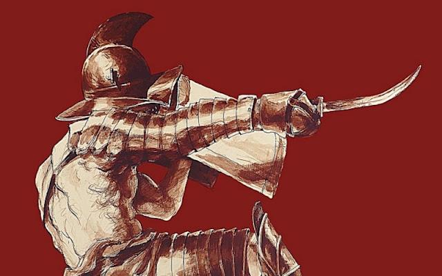 gladiator thracian bertahan dari serangan lawan