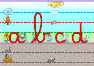 Affichage des lettres cursives pour la classe, dans les lignes Seyès