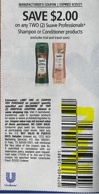 """$2.00/2-Suave Professionals Shampoo Or Conditioner Products Coupon from """"SAVE"""" insert week of 9/12/21."""