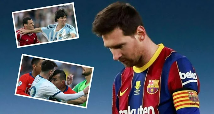 Games and competition in which Messi saw his 4 red cards in his career