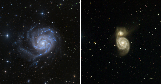 M101, The Pinwheel Galaxy in Ursa Major processed by Utkarsh Mishra and Michael Petrasko (left) and M51, The Whirpool Galaxy in Canes Venatici (right) imaged on ATEO-1 processed by Michael Petrasko.