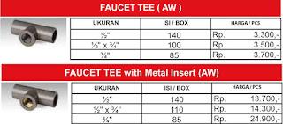 Harga sambungan pipa air pvc Rucika standard Faucet Tee dan Faucet Tee Metal Insert