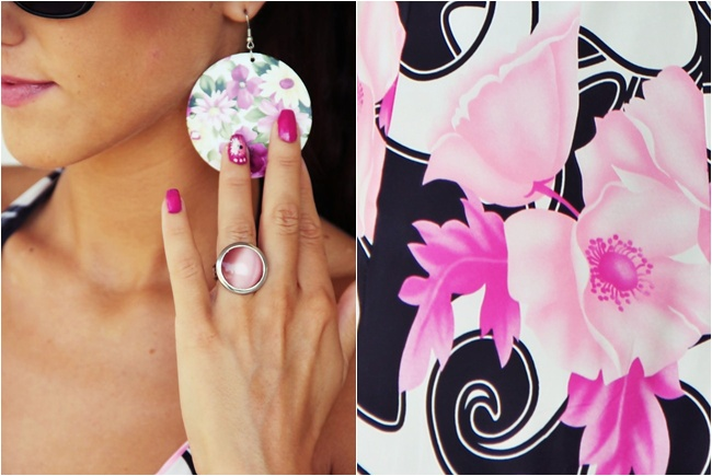 pink nails with flower decoration
