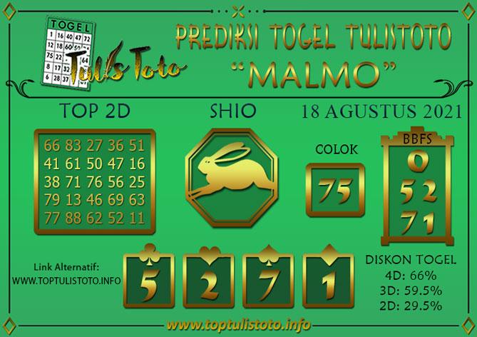 Prediksi Togel MALMO TULISTOTO 18 AGUSTUS 2021