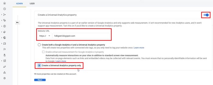 How to create Universal Analytics property for websites?