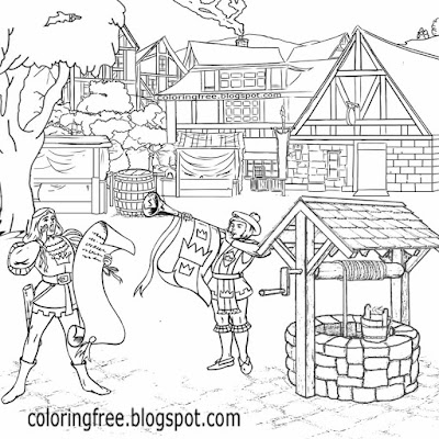 Old medieval town crier gothic building hamlet water well village market drawing ideas for teenagers