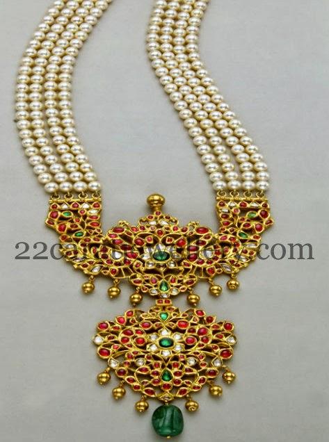 Pearls Set With Kundan Pathakam Jewellery Designs