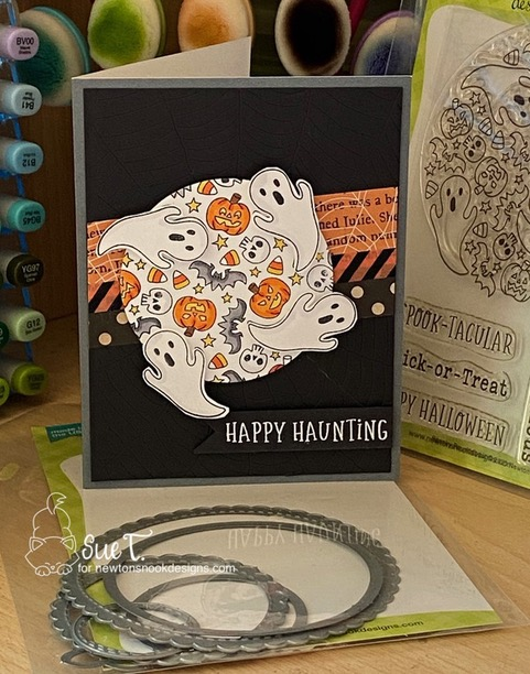 Happy Haunting by Sue T. features Spooky Roundabout and Circle Frames by Newton's Nook Designs; #newtonsnook, #cardmaking, #halloween