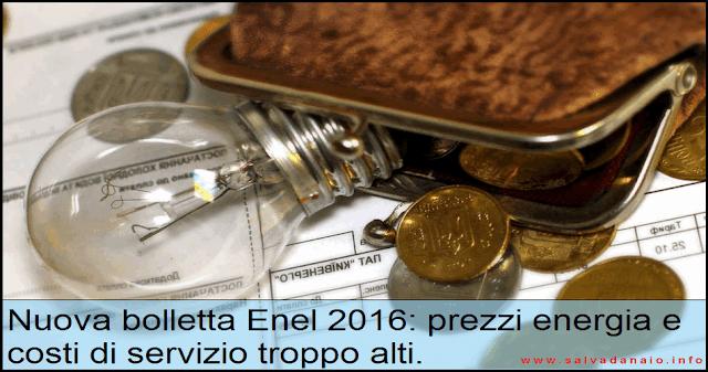 Nuova bolletta Enel prezzi energia costi servizio tariffa