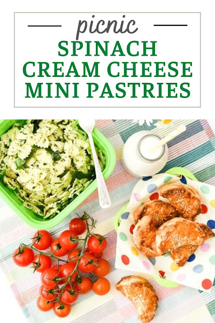Mini puff pastry parcels filled with cream cheese (dairy or vegan), spinach, and a little bit of spice. Perfect for picnics, lunch boxes, or for a quick snack when you are out and about.