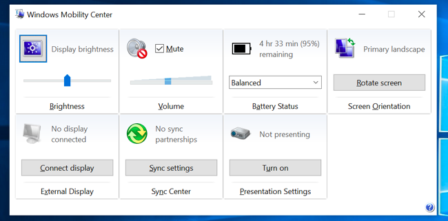 مركز التنقل لـ Windows.