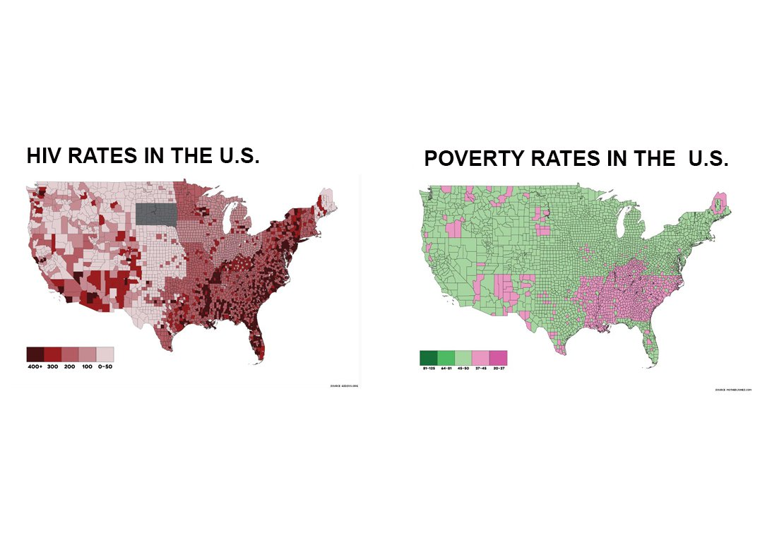 maps compare low income with high hiv rates
