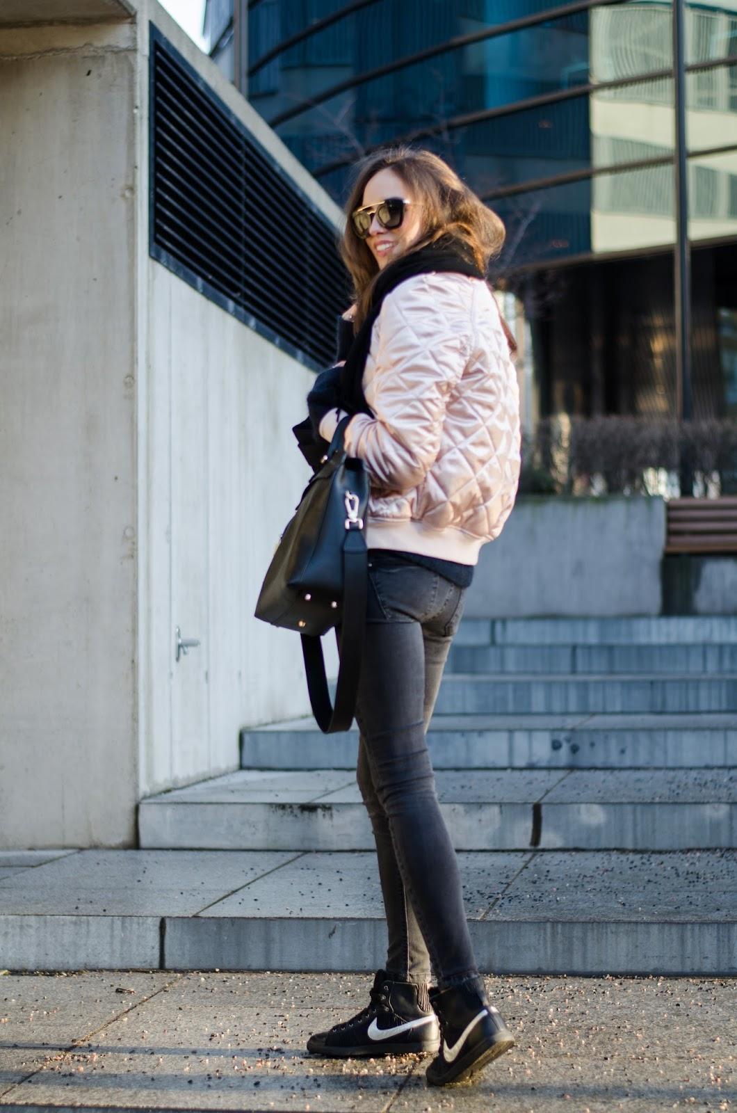kristjaana mere pink bomber jacket black sneakers