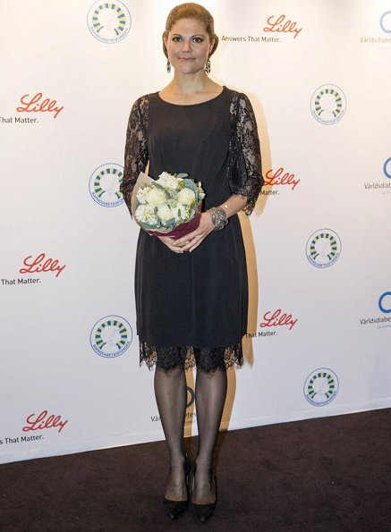 Crown Princess Victoria attended Barndiabetesfonden charity dinner at Berns in Stockholm on the occasion of World Diabetes Day