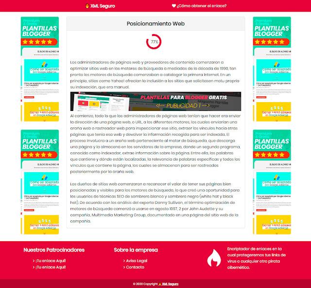 cargando link de la plantilla blogger XML Seguro