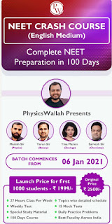PHYSICSWALLAH: NEET CRASH COURSE (ENGLISH MEDIUM) COMPLETE NEET PREPARATION In 100 Days