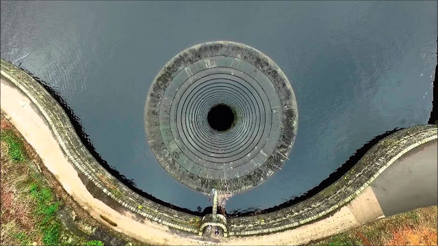 ladybower reservoir, plug hole, derbyshire england dam, godzilla bathtub drain, ladybower reservoir derbyshire england, bellmouth spillway
