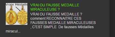 VRAIE OU FAUSSE MEDAILLE MIRACULEUSE ?