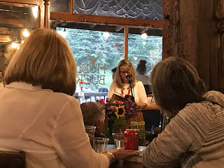 Author Harper McDavid reading from her romantic thriller novel Zapata