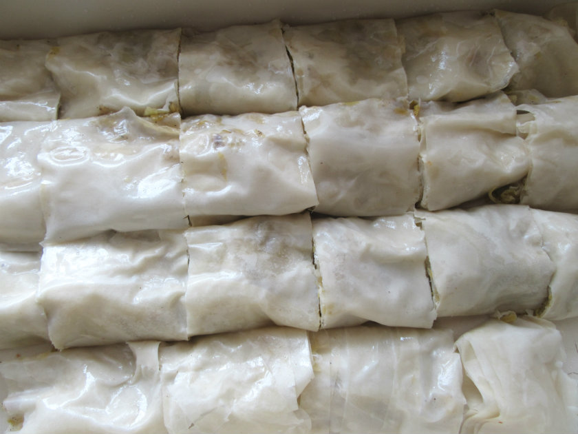 filled filo pastry rolls