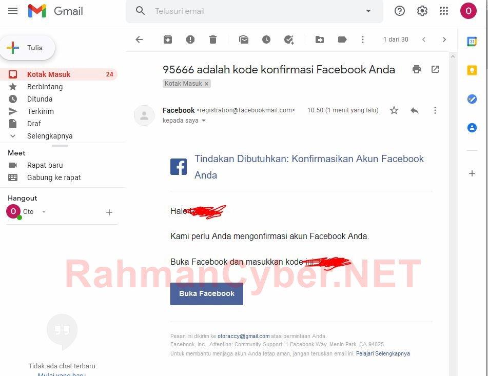 Email berisi Kode 6 Digit Verifikasi Facebook