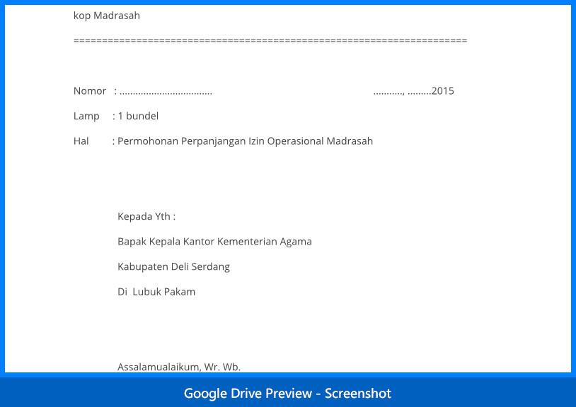 contoh surat permohonan izin operasional sekolah Madrasah