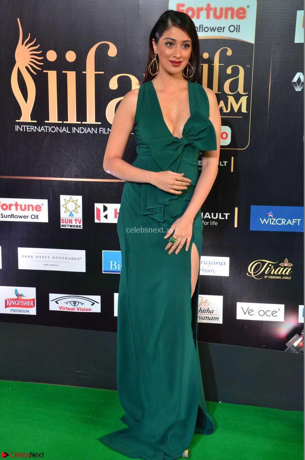 Raai Laxmi in Deep Neck Sleeveless Green Leg Split Gown at IIFA Utsavam Awards 2017  Day 2 - CelebsNext HD Exclusive Pics