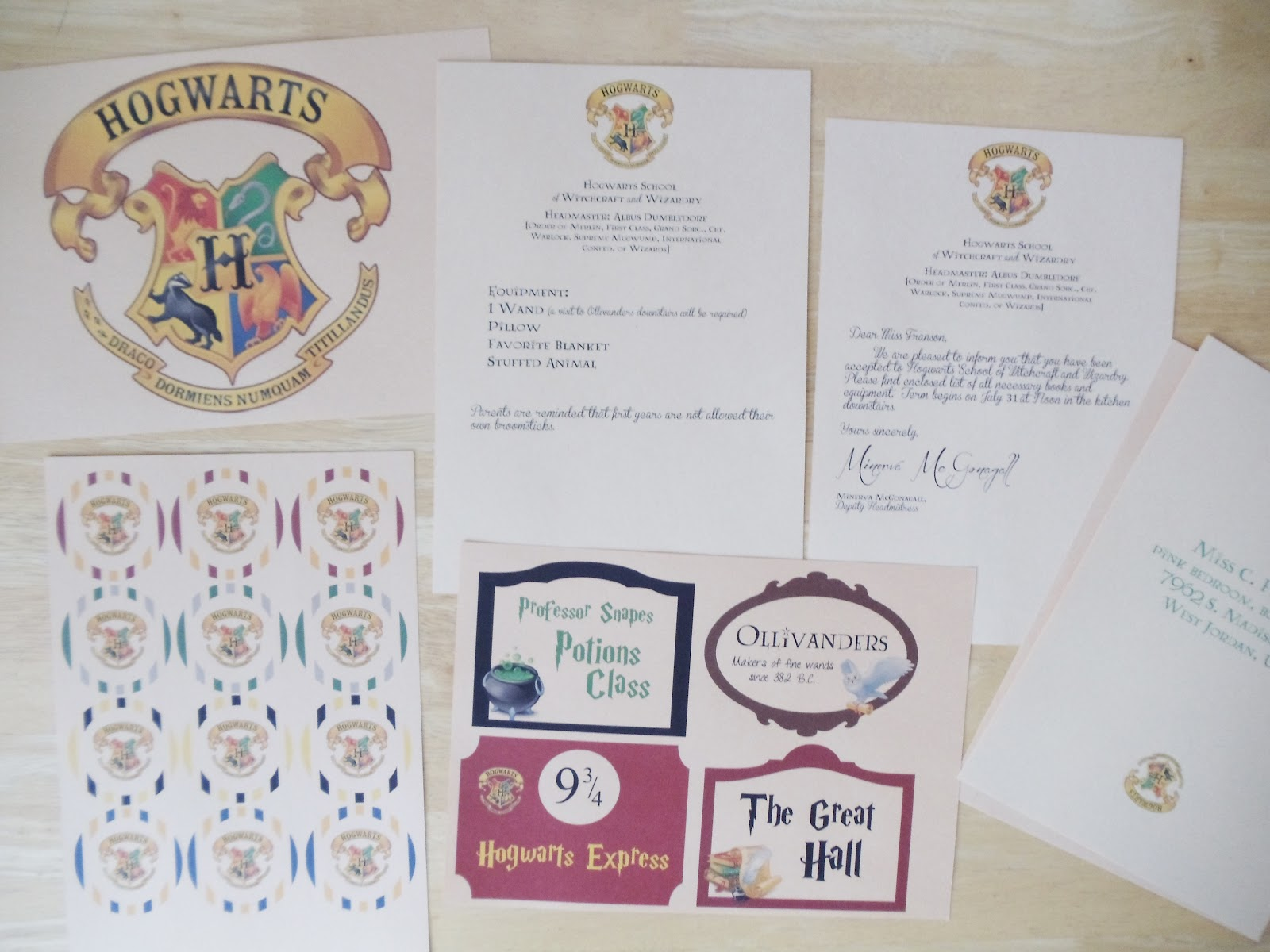 My Cotton Creations Family Life Harry Potter Party Free Printables