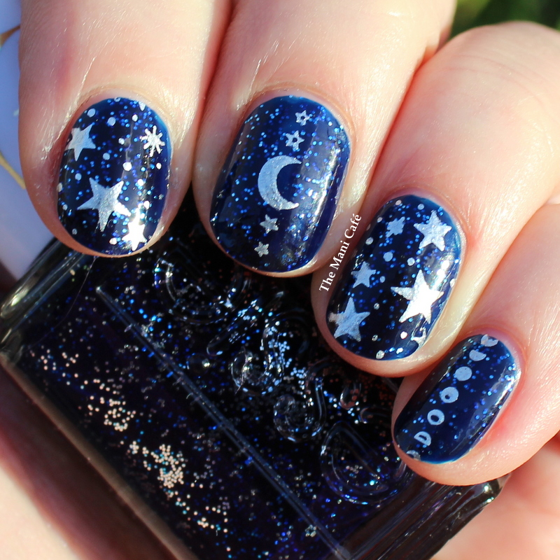 The Mani Café: Essie Starry Starry Night with Moon & Star Stamping