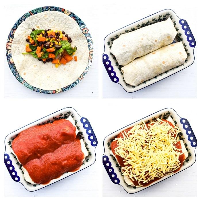 Making sweet potato enchiladas - step 5 - fill ad top the enchiladas