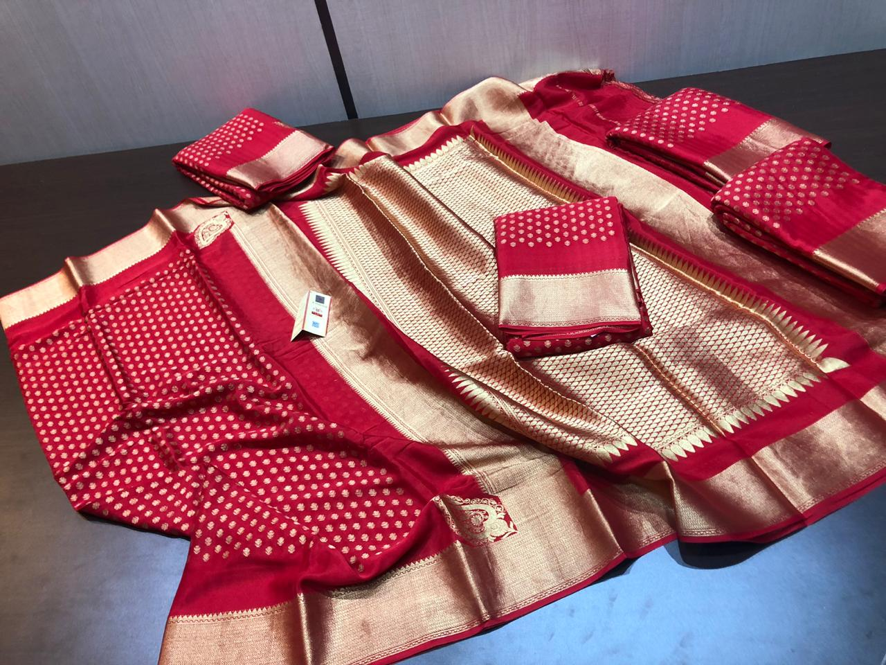 PURE CREPE 90GSM THICK PURE SILK SAREES WITH EXTRAORDINARY