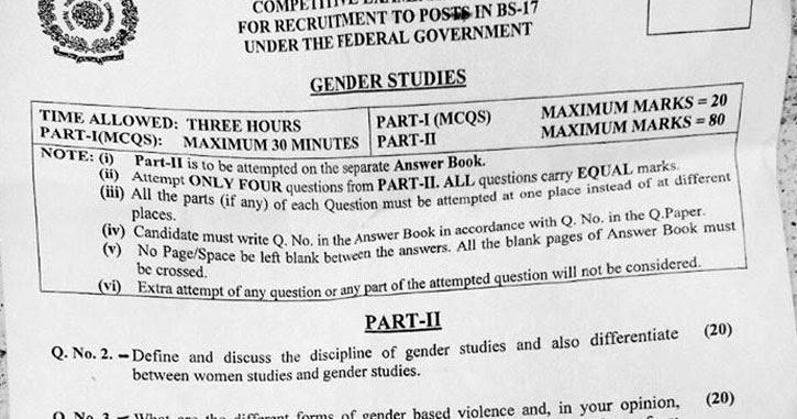 Gender Studies CSS Past Paper 2017 - Ratta pk