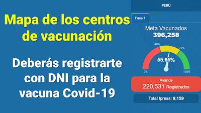 Vacuna COVID-19 Registro DNI Certificado QR Link de los Centros de vacunacion