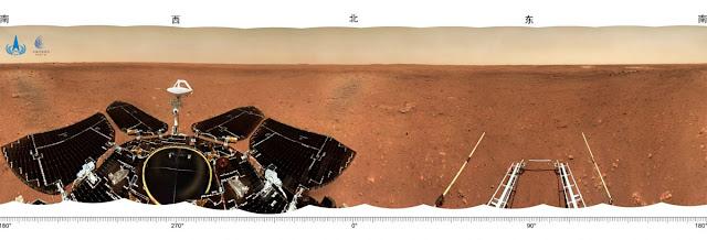 Imagem panorâmica de Utopia Planitia feita pelo rover Zhurong da China - CNSA
