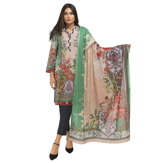 Gul Ahmed light green color suits ready to wear digital collection