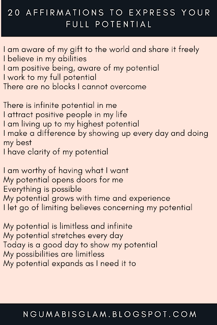 20 Affirmations To Express Your Full Potential