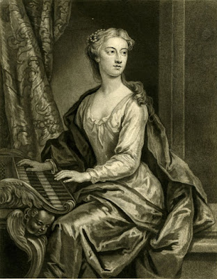Mezzotint of Anastasia Robinson by John the Faber the Younger after the 1723 oil painting by John Vanderbank