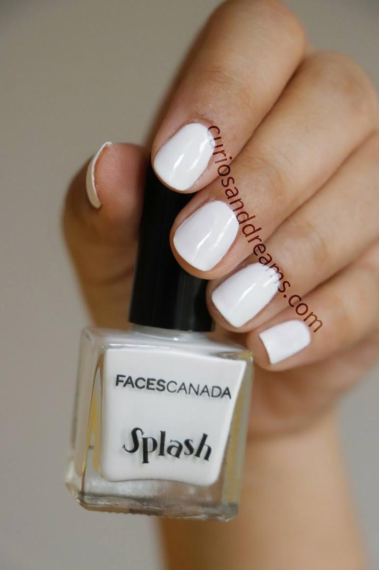 Faces Canada Splash Nail Enamel White O White, Faces Canada nail polish, Faces Canada nail polish swatches, Faces Canada Splash Nail Enamel