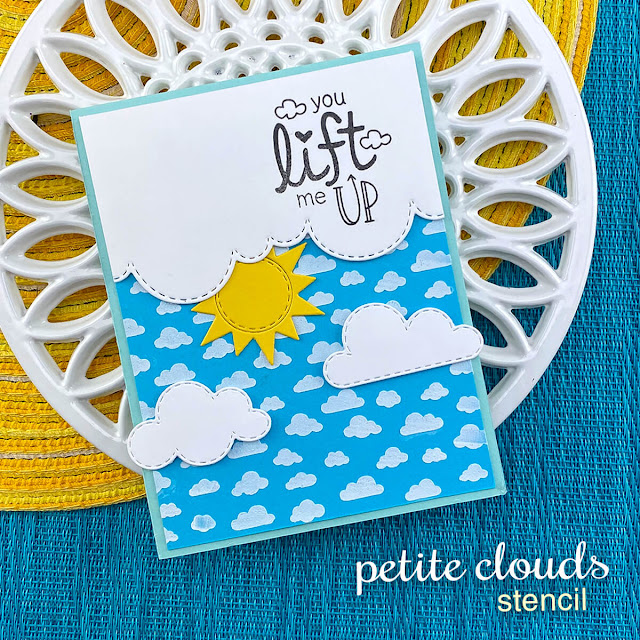 You Lift Me Up card by Jennifer Jackson | Petite Clouds Stencil, Sky Borders Die Set, Sky Scene Builder Die Set and Uplifting Wishes Stamp Set by Newton's Nook Designs #newtonsnook